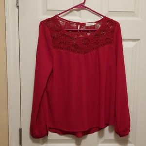 Blu Pepper red long sleeve blouse